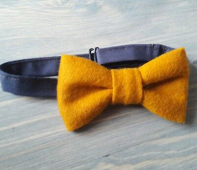 Unique tweed style boys bow tie -  Vintage, Wedding, Hipster - mustard yellow