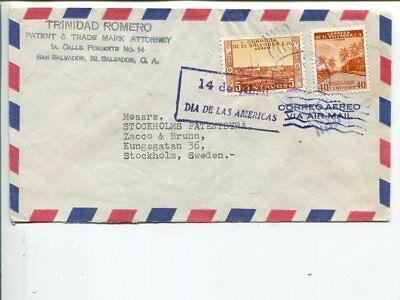 El Salvador air mail cover to Sweden, year unclear