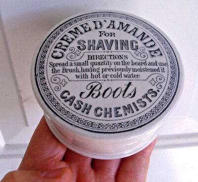 Antique, ca 1888-1900 Boots Chemists, larger size, Shaving Cream jar box pot lid
