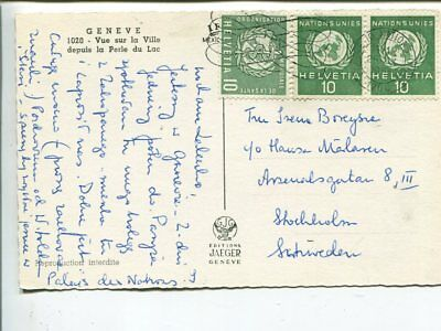 United Nations Geneva+WHO on post card to Sweden 1965