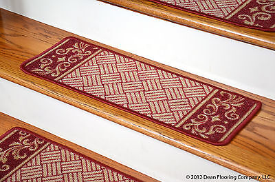 Dean Washable Non Skid Carpet Stair Treads   Cranberry Scroll Border