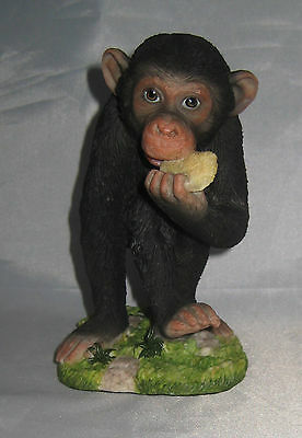 "Baby Chimp Eating Figurine Gorilla Polystone Detailed 5.25"" High New in Box"