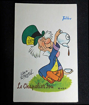 Walt Disney Vintage circa 1950s Alice Mad Hatter French Advert Postcard Tobler