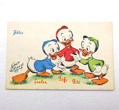 Walt Disney Huey Dewey Louie Vintage circa 1950s French Frameable Art Postcard