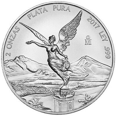 LIBERTAD - MEXICO - 2017 2 oz Silver Brilliant Uncirculated Coin  BU