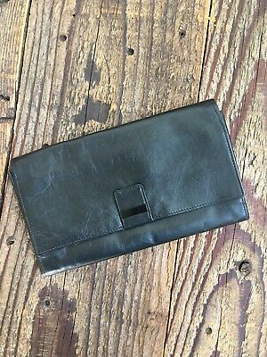 BROOKSTONE Black Leather Travel Wallet, FREE SHIPPING
