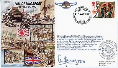 SINGAPORE, WW2 Surrender,FIRST DAY COVER, RARE, FLWN / SIGN , RAF SEK KONG, 1992