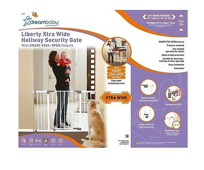 Dreambaby Liberty Xtra Wide Security Child Toddler White Stay Open Safety Gate