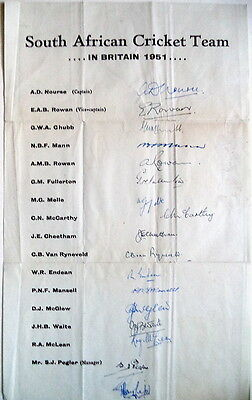 South Africa To England 1951 – Cricket Autograph Sheet