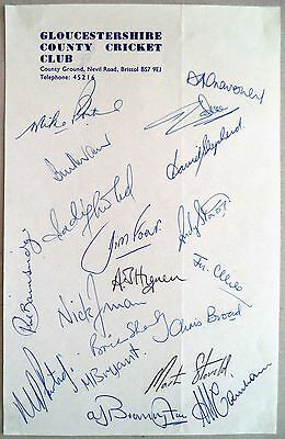 Gloucestershire 1979 County Championship – Cricket Official Autograph Sheet