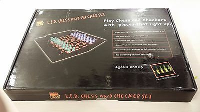 L.E.D.CHESS&CHECKERS SET~MASTERPIECE G1 by HI-TEC~MSRP $189~OVER 70% OFF~SWEEEET