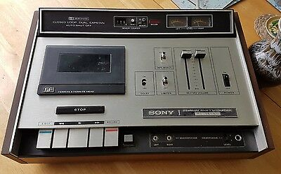 Sony TC-161SD Vintage 70s Cassette Tape Recorder Player Silver Wood Grain 24HR!