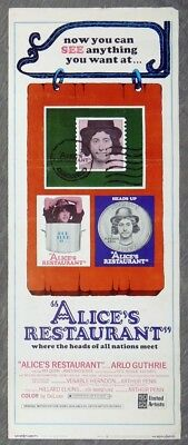 M328. Vintage ALICE'S RESTAURANT Arlo Guthrie Insert Movie Door Poster (1969)