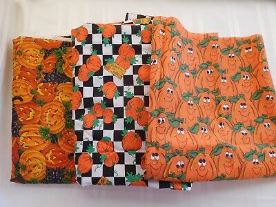 Lot of 3 Halloween Pumpkin Cats fabric Various sizes and brands May be vintage