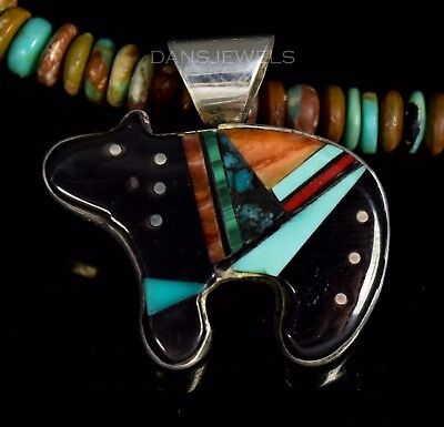 Zuni or Navajo VTG Flush Inlay BEAR FETISH Turquoise Sterling Dainty Pendant