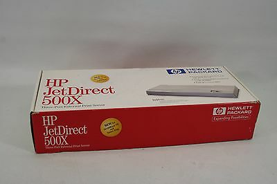 NEW HP JetDirect 500X Parallel Ethernet Print Server, J3264A, 220V power, AS-IS