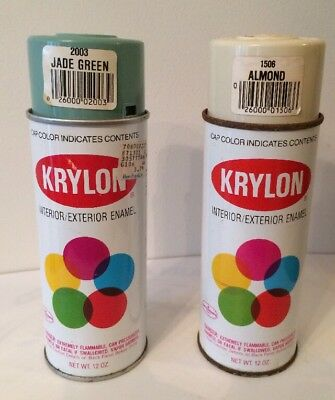 Vintage Krylon Spray Paint Cans Jade Green #2003 and Almond #1506 Lot Of 2