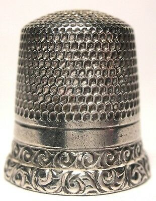 Early Waite, Thresher Sterling Silver Two Band Thimble w/Waves & Chasing c.1880s