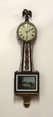 Large 41in Antique 19thC Weight Driven Banjo Wall Clock, All Original NR