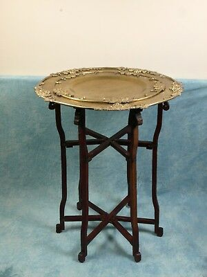 UNUSUAL Folding CHINESE Anglo-Indian TABLE 2 trays Brass Tea Coffee Vintage