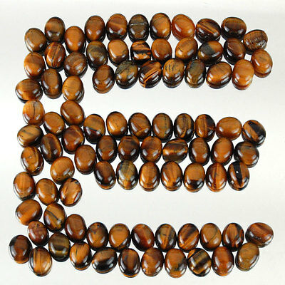363 Cts/88 Pcs Untreated Natural Tiger Eye Oval Cabochon Gemstones ~ Wholesale