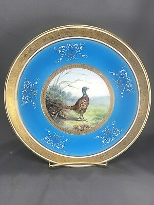 UNREAL! Hand Painted Minton English Azure Blue & Gold Game Bird Plate (3090)