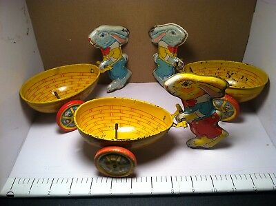 3 Vintage J.chein & Co. Easter Rabbits Pushing Giant Basket Egg  Tin  Bunny Toy