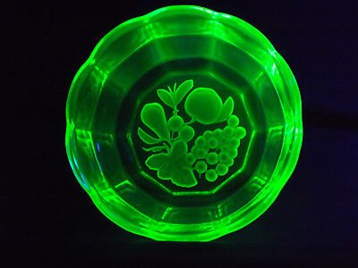 Uranium Green Depression Glass Fruit Bowl