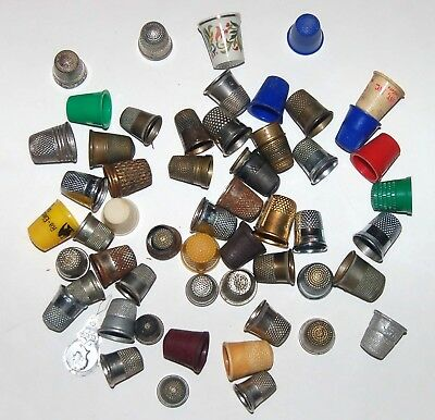 Lot (50+) Instant Thimble Collection Sterling, Brass, Advertising, Plastic, etc
