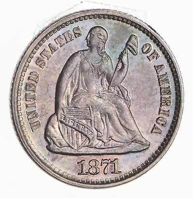1871 Seated Liberty Half Dime - Not Circulated - Rainbow Toned *2506