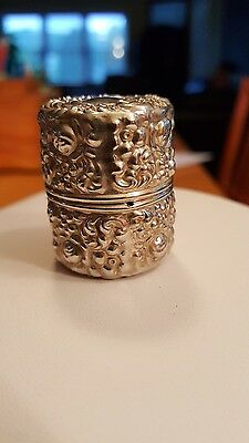 Antique unger brothers1890's Sterling Silver 925 f Repousse Thread Holder case
