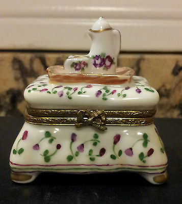 LIMOGES LIMITED EDITION Floral Ottoman with Coffee Tray TRINKET BOX!!!