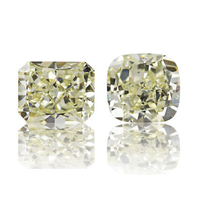 Yellow Diamond Natural Pair 0 .55 Ct Fancy Color Real Radiant Cut VS1 Matching