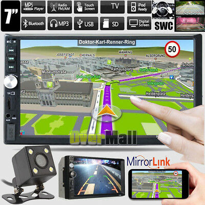 "7"" Double 2DIN Car MP5 MP3 Player Bluetooth Mirror Link Touch Screen Radio + Cam"