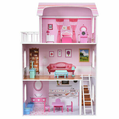 NEW Kids Wood House Playset Doll Cottage Dollhouse w/ Furniture Children GiftToy