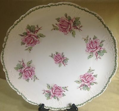 "Antique Imperial China Austria 12 1/4"" Charger Green Trim W/ Pink Roses"