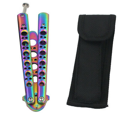 GOOD Practice Trainer Training Knife Metal Steel Rainbow BALISONG Sport Tool SER