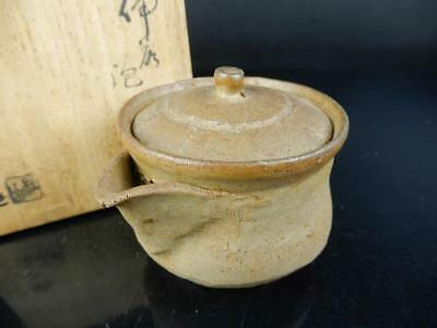 J1982: Japanese Bizen-ware Youhen pattern TEA POT Houhin Sencha w/signed box