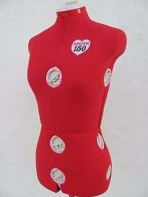 Singer 150 Red Adjustable Dress Form Mannequin Sewing Form with Stand