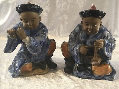 Vintage Ceramic Chinese Figurines - Musicians - Mid To Late 20th Century