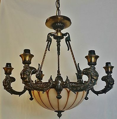 Vintage Deco Bacchus North Wind Face Brass Alabaster Glass Bowl Chandelier Spain