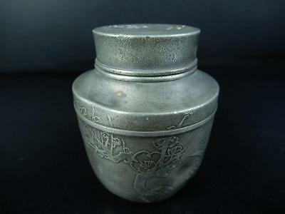 J1954: Japanese Old Tin Shikunshi sculpture TEA CADDY Chaire Container, auto