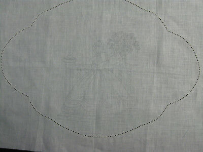 Traced spoked linen crinoline bonnet girl duchess doily rose embroider stitch