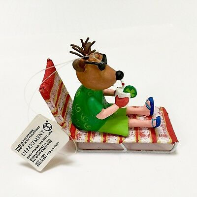 NWT DEPT 56 Reindeer Christmas Ornament In Beach Chair Sunglasses Bathing Suit
