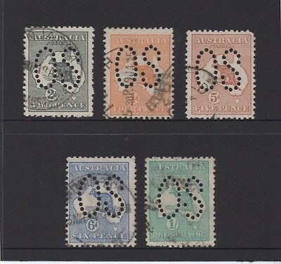 """Australia stamps - 5 x 1st watermark Kangaroo with large """"OS"""" perforations"""