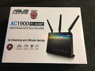 ASUS RT-AC68P Wireless-AC1900 Dual Band Gigabit Router 1GHz Used .