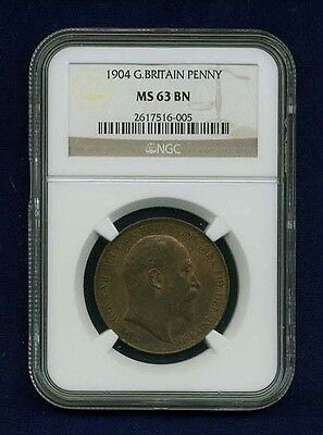 Great Britain Edward Vii  1904  Penny Choice Uncirculated, Certified Ngc Ms63-Bn