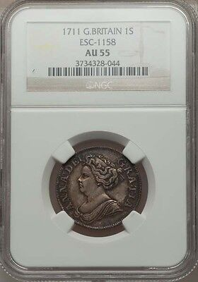 G.b./england Anne  1711  Shilling, Almost Uncirculated, Certified By Ngc Au-55