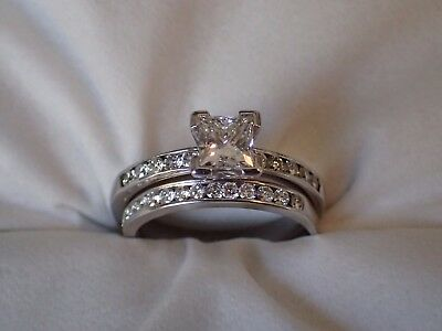 Size P G/H VS2 Princess Cut Diamond Engagement Ring & Channel Set Wedding Band
