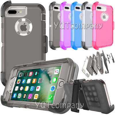 For iPhone 8 Plus Shockproof Hybrid Hard Protective Case Cover Clear + Belt Clip